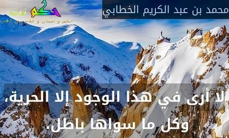 لا أرى في هذا الوجود إلا الحرية، وكل ما سواها باطل. -محمد بن عبد الكريم الخطابي