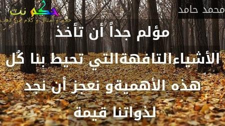 مؤلم جداً أن تأخذ الأشياءالتافهةالتي تحيط بنا كُل هذه الأهميةو نعجز أن نجد لذواتنا قيمة -محمد حامد