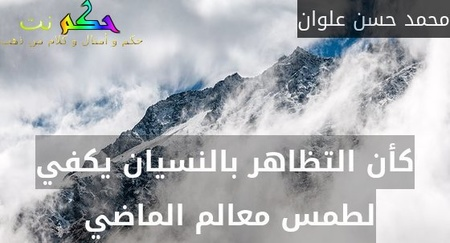 كأن التظاهر بالنسيان يكفي لطمس معالم الماضي -محمد حسن علوان