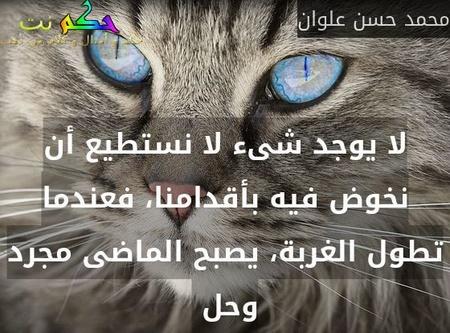 لا يوجد شىء لا نستطيع أن نخوض فيه بأقدامنا، فعندما تطول الغربة، يصبح الماضى مجرد وحل -محمد حسن علوان