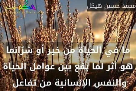 ما في الحياة من خير أو شرّإنما هو أثر لما يقع بين عوامل الحياة والنفس الإنسانية من تفاعل -محمد حسين هيكل