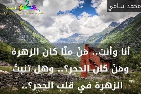 أنا وأنتِ.. مَنْ منّا كان الزهرة ومَنْ كان الحجر؟.. وهل تنبتُ الزهرة في قلب الحجر؟.. -محمد سامي