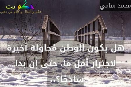 هل يكون الوطن مُحاولة أخيرة لاجترار أمل ما، حتى إن بدا ساذجًا؟.. -محمد سامي