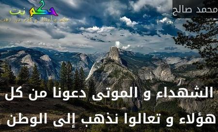 الشهداء و الموتى دعونا من كل هؤلاء و تعالوا نذهب إلى الوطن -محمد صالح