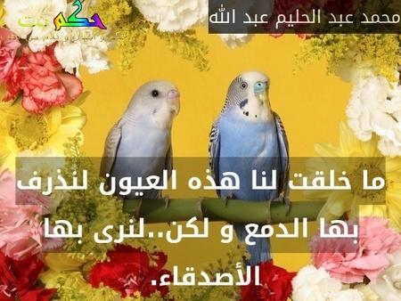 ما خلقت لنا هذه العيون لنذرف بها الدمع و لكن..لنرى بها الأصدقاء. -محمد عبد الحليم عبد الله