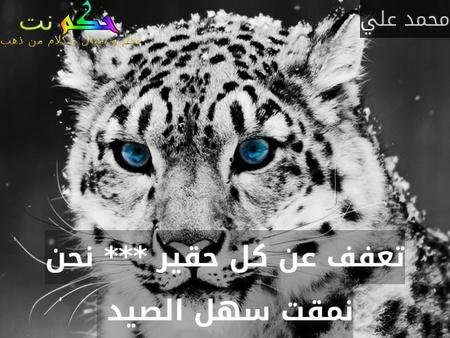 تعفف عن كل حقير *** نحن نمقت سهل الصيد -محمد علي