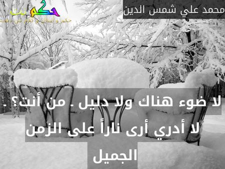 لا ضوء هناك ولا دليل ـ من أنت؟ ـ لا أدري أرى ناراً على الزمن الجميل -محمد علي شمس الدين