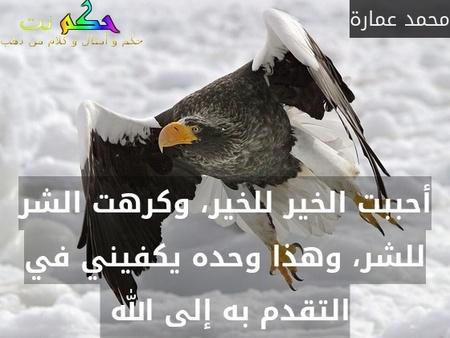 أحببت الخير للخير، وكرهت الشر للشر، وهذا وحده يكفيني في التقدم به إلى الله -محمد عمارة