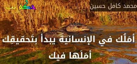 أمَلُك في الإنسانية يبدأ بتَحقيقِك أمَلَها فيك -محمد كامل حسين