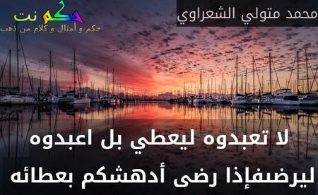 لا تعبدوه ليعطي بل اعبدوه ليرضىفإذا رضى أدهشكم بعطائه -محمد متولي الشعراوي