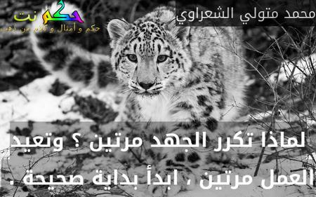 لماذا تكرر الجهد مرتين ؟ وتعيد العمل مرتين ، ابدأ بداية صحيحة . -محمد متولي الشعراوي