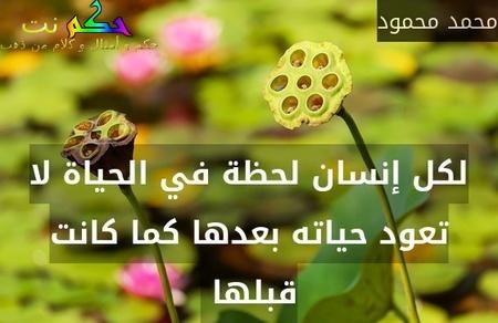لكل إنسان لحظة في الحياة لا تعود حياته بعدها كما كانت قبلها -محمد محمود