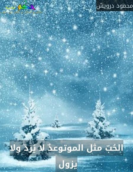 الحُبّ مثل الموتوعدٌ لا يُرَدّ ولا يزول -محمود درويش