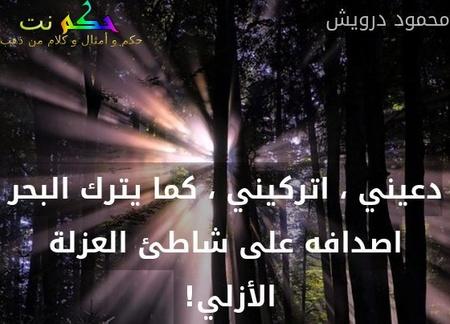 دعيني ، اتركيني ، كما يترك البحر اصدافه على شاطئ العزلة الأزلي! -محمود درويش