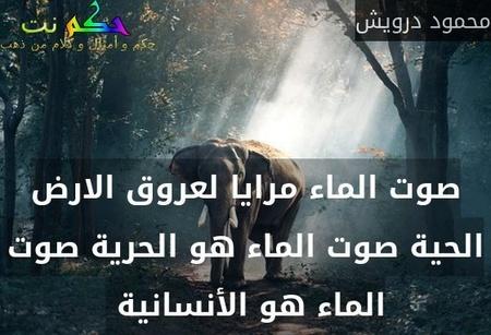 صوت الماء مرايا لعروق الارض الحية صوت الماء هو الحرية صوت الماء هو الأنسانية -محمود درويش