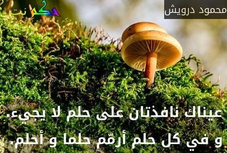 عيناك نافذتان على حلم لا يجيء. و في كل حلم أرمّم حلما و أحلم. -محمود درويش