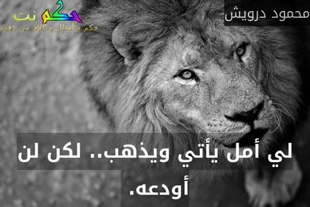 لي أمل يأتي ويذهب.. لكن لن أودعه. -محمود درويش