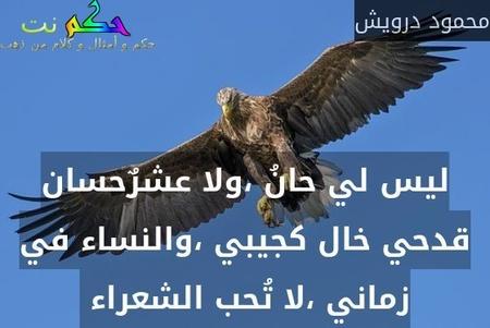 ليس لي حانُ ،ولا عشرٌحسان قدحي خال كجيبي ،والنساء في زماني ،لا تُحب الشعراء -محمود درويش