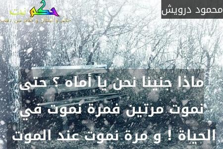 ماذا جنينا نحن يا أماه ؟ حتى نموت مرتين فمرة نموت في الحياة ! و مرة نموت عند الموت -محمود درويش