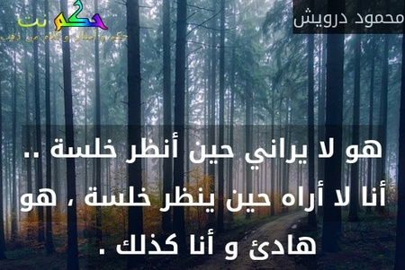 هو لا يراني حين أنظر خلسة .. أنا لا أراه حين ينظر خلسة ، هو هادئ و أنا كذلك . -محمود درويش