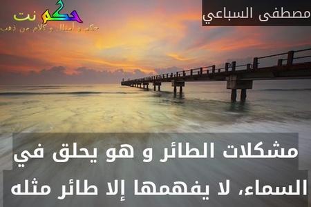 مشكلات الطائر و هو يحلق في السماء، لا يفهمها إلا طائر مثله -مصطفى السباعي