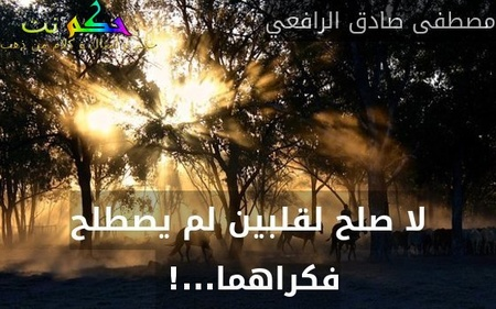 لا صلح لقلبين لم يصطلح فكراهما...! -مصطفى صادق الرافعي