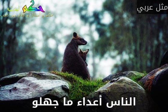 الناس أعداء ما جهلو-مثل عربي