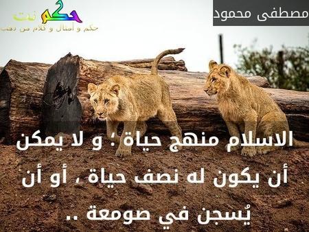 الاسلام منهج حياة ؛ و لا يمكن أن يكون له نصف حياة ، أو أن يُسجن في صومعة .. -مصطفى محمود