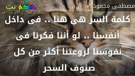 كلمة السر هى هنا .. فى داخل أنفسنا .. لو أننا فكرنا فى نفوسنا لروعتنا أكثر من كل صنوف السحر -مصطفى محمود