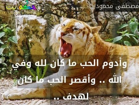 وأدوم الحب ما كان لله وفي الله .. وأقصر الحب ما كان لهدف .. -مصطفى محمود