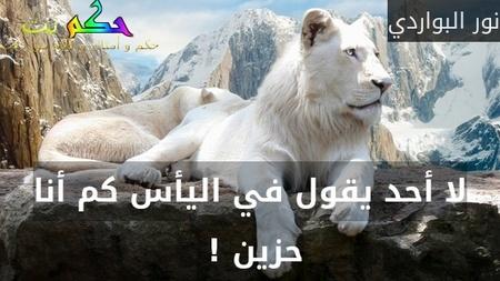 لا أحد يقول في اليأس كم أنا حزين ! -نور البواردي