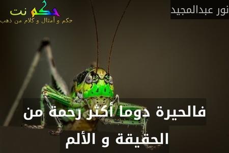 فالحيرة دوما أكثر رحمة من الحقيقة و الألم -نور عبدالمجيد