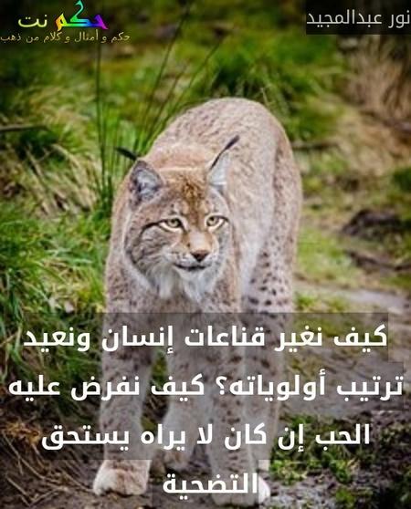 كيف نغير قناعات إنسان ونعيد ترتيب أولوياته؟ كيف نفرض عليه الحب إن كان لا يراه يستحق التضحية -نور عبدالمجيد