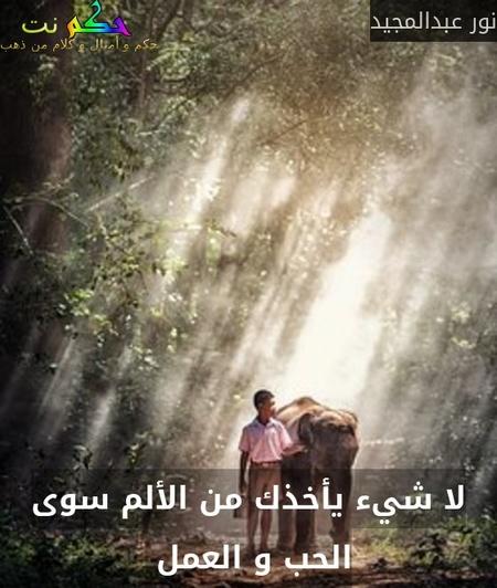 لا شيء يأخذك من الألم سوى الحب و العمل -نور عبدالمجيد