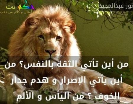 من أين تأتي الثقة بالنفس؟ من أين يأتي الإصرار و هدم جدار الخوف ؟ من اليأس و الألم -نور عبدالمجيد