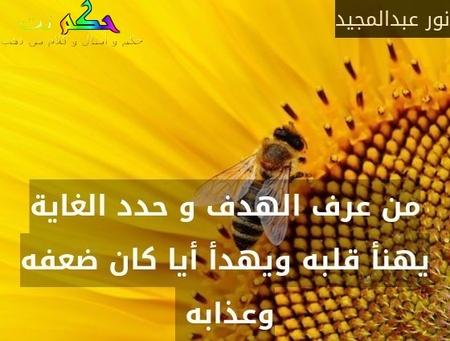 من عرف الهدف و حدد الغاية يهنأ قلبه ويهدأ أيا كان ضعفه وعذابه -نور عبدالمجيد