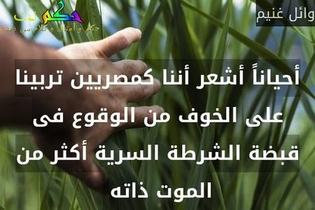 أحياناً أشعر أننا كمصريين تربينا على الخوف من الوقوع فى قبضة الشرطة السرية أكثر من الموت ذاته -وائل غنيم