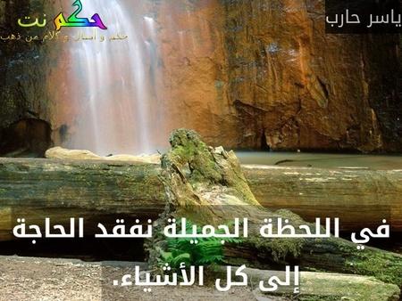 في اللحظة الجميلة نفقد الحاجة إلى كل الأشياء. -ياسر حارب
