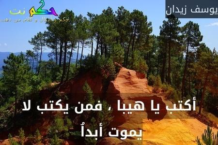 أكتب يا هيبا ، فمن يكتب لا يموت أبداُ -يوسف زيدان