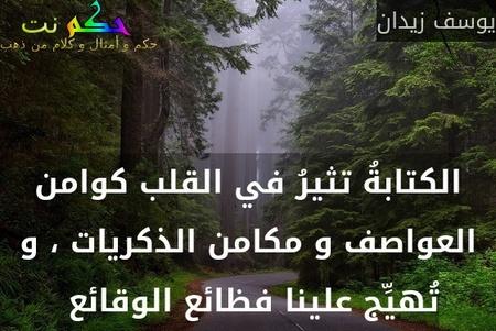 الكتابةُ تثيرُ في القلب كوامن العواصف و مكامن الذكريات ، و تُهيِّج علينا فظائع الوقائع -يوسف زيدان