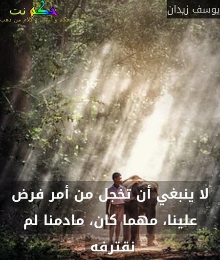 لا ينبغي أن تخجل من أمر فرض علينا، مهما كان، مادمنا لم نقترفه -يوسف زيدان