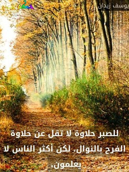 للصبر حلاوة لا تقل عن حلاوة الفرح بالنوال، لكن أكثر الناس لا يعلمون. -يوسف زيدان