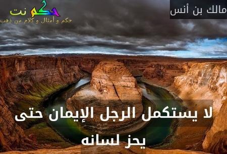 لا يستكمل الرجل الإيمان حتى يحز لسانه-مالك بن أنس