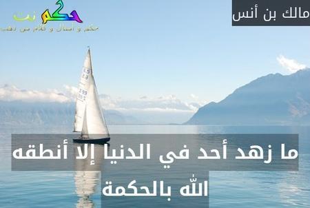 ما زهد أحد في الدنيا إلا أنطقه الله بالحكمة-مالك بن أنس