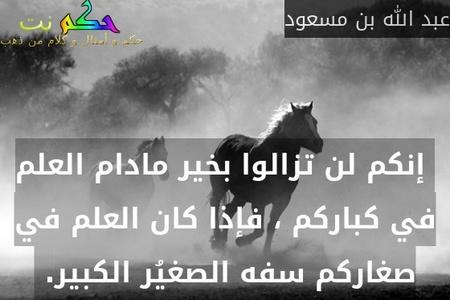 إنكم لن تزالوا بخير مادام العلم في كباركم ، فإذا كان العلم في صغاركم سفه الصغيُر الكبير. -عبد الله بن مسعود