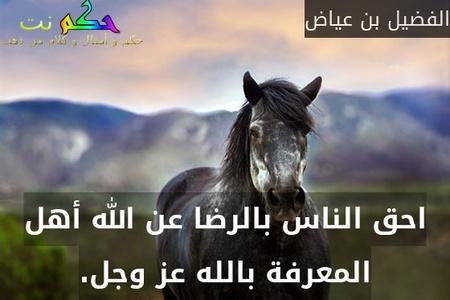 احق الناس بالرضا عن الله أهل المعرفة بالله عز وجل.-الفضيل بن عياض