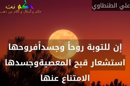 إن للتوبة روحاً وجسداًفروحها استشعار قبح المعصيةوجسدها الامتناع عنها-علي الطنطاوي