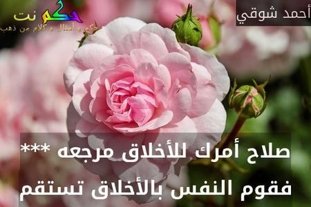 صلاح أمرك للأخلاق مرجعه *** فقوم النفس بالأخلاق تستقم-أحمد شوقي