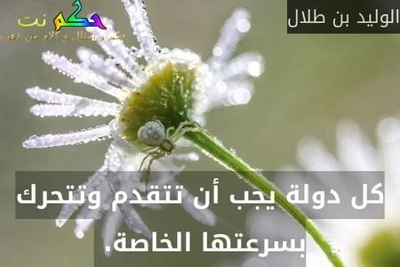 كل دولة يجب أن تتقدم وتتحرك بسرعتها الخاصة. -الوليد بن طلال