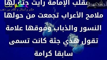 في مقلب الإمامة رأيت جثة لها ملامح الأعراب تجمعت من حولها النسور والذباب وفوقها علامة تقول هذي جثة كانت تسمى سابقا كرامة-أحمد مطر